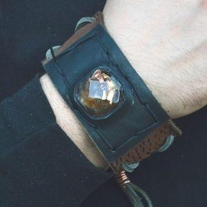 Orgonite Carnelian Copper Leather Cuff Bracelet